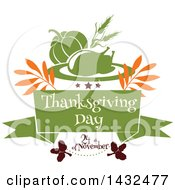 Clipart Of A Thanksgiving Day Greeting With A Roasted Turkey And Pumpkin Royalty Free Vector Illustration by Vector Tradition SM