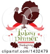 Clipart Of A Silhouetted Turkey Bird With Turkey Dinner Thanksgiving Day Text Royalty Free Vector Illustration by Vector Tradition SM