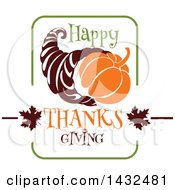 Clipart Of A Happy Thanksgiving Greeting And Cornucopia Royalty Free Vector Illustration by Vector Tradition SM