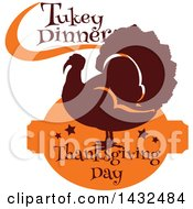 Clipart Of A Silhouetted Turkey Bird With Turkey Dinner Thanksgiving Day Text Royalty Free Vector Illustration