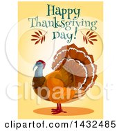 Clipart Of A Happy Thanksgiving Day Greeting Over A Turkey Bird Royalty Free Vector Illustration