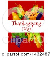 Clipart Of A Thanksgiving Day Banner Over A Thanksgiving Pie Corn Eggplant Grapes Cranberries And Pear On Red Royalty Free Vector Illustration
