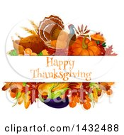 Clipart Of A Turkey Bird And Produce Design With Happy Thanksgiving Text Royalty Free Vector Illustration