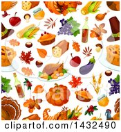 Clipart Of A Seamless Patterned Thanksgiving Background Royalty Free Vector Illustration
