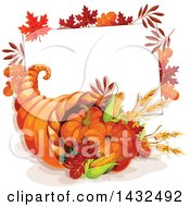 Clipart Of A Thanksgiving Cornucopia And Sign Royalty Free Vector Illustration by Vector Tradition SM