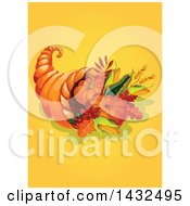 Clipart Of A Thanksgiving Cornucopia On Yellow Royalty Free Vector Illustration by Vector Tradition SM