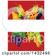 Clipart Of A Blank Banner Over A Thanksgiving Pie Corn Eggplant Grapes Cranberries And Pear On Red Royalty Free Vector Illustration