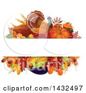 Clipart Of A Turkey Bird And Produce Design With Text Space Royalty Free Vector Illustration
