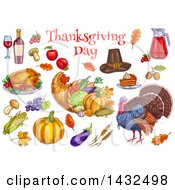 Clipart Of Thanksgiving Day Text Over Sketched Food Items Royalty Free Vector Illustration