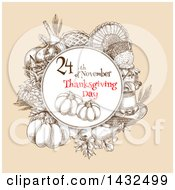 Clipart Of A Sketched Festive Thanksgiving Design Royalty Free Vector Illustration