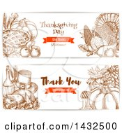 Clipart Of Sketched Thanksgiving Website Banners Royalty Free Vector Illustration