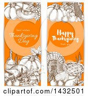 Clipart Of Sketched Brown White And Orange Thanksgiving Website Banners Royalty Free Vector Illustration