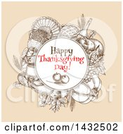Clipart Of A Sketched Round Frame With Happy Thanksgiving Day Text Over Produce And Thanksgiving Items Royalty Free Vector Illustration
