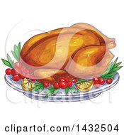 Clipart Of A Sketched Roasted Thanksgiving Turkey On A Platter Royalty Free Vector Illustration