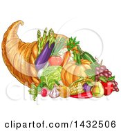Clipart Of A Sketched Thanksgiving Cornucopia With Vegetables Royalty Free Vector Illustration
