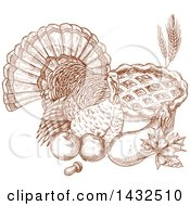Clipart Of A Sketched Brown Turkey Bird With Produce And A Pie Royalty Free Vector Illustration by Vector Tradition SM