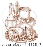 Clipart Of A Sketched Roasted Thanksgiving Turkey And Pilgrim Hat Royalty Free Vector Illustration by Vector Tradition SM