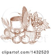 Clipart Of A Sketched Brown Pilgrim Hat And Produce Royalty Free Vector Illustration by Vector Tradition SM