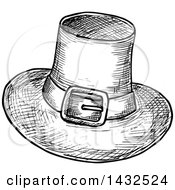 Clipart Of A Sketched Black And White Pilgrim Hat Royalty Free Vector Illustration by Vector Tradition SM