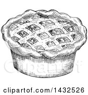 Clipart Of A Sketched Black And White Pie Royalty Free Vector Illustration by Vector Tradition SM
