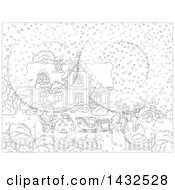 Black And White Lineart Scene Of Reindeer Waiting While Santa Loads His Sleigh With Christmas Gifts In Front Of His Home In The Snow