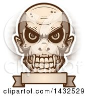 Clipart Of A Halftone Evil Vampire Skull Over A Blank Banner Royalty Free Vector Illustration