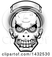 Clipart Of A Halftone Black And White Evil Vampire Skull Over A Blank Banner Royalty Free Vector Illustration by Cory Thoman