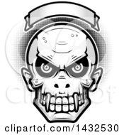 Halftone Black And White Evil Vampire Skull Over A Blank Banner