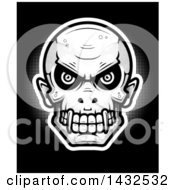 Clipart Of A Halftone Evil Vampire Skull On Black Royalty Free Vector Illustration