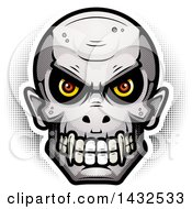 Clipart Of A Halftone Evil Vampire Skull Royalty Free Vector Illustration by Cory Thoman