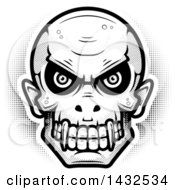 Clipart Of A Halftone Black And White Evil Vampire Skull Royalty Free Vector Illustration