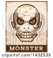 Poster, Art Print Of Halftone Evil Vampire Skull Over Monster Text