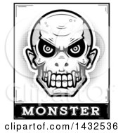 Clipart Of A Halftone Black And White Evil Vampire Skull Over Monster Text Royalty Free Vector Illustration