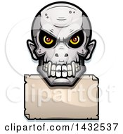 Clipart Of A Halftone Evil Vampire Skull Over A Blank Paper Sign Royalty Free Vector Illustration