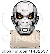 Poster, Art Print Of Halftone Evil Vampire Skull Over A Blank Paper Sign