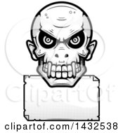 Clipart Of A Halftone Black And White Evil Vampire Skull Over A Blank Paper Sign Royalty Free Vector Illustration