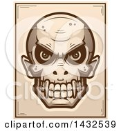 Clipart Of A Halftone Evil Vampire Skull Poster Design Royalty Free Vector Illustration
