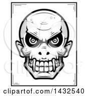 Clipart Of A Halftone Black And White Evil Vampire Skull Poster Design Royalty Free Vector Illustration by Cory Thoman