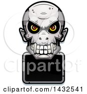 Clipart Of A Halftone Evil Vampire Skull Over A Blank Sign Royalty Free Vector Illustration
