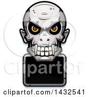 Halftone Evil Vampire Skull Over A Blank Sign