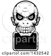 Clipart Of A Halftone Black And White Evil Vampire Skull Over A Blank Sign Royalty Free Vector Illustration