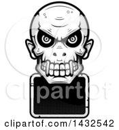 Halftone Black And White Evil Vampire Skull Over A Blank Sign