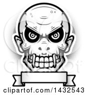 Clipart Of A Halftone Black And White Evil Vampire Skull Over A Blank Banner Royalty Free Vector Illustration