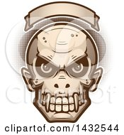 Clipart Of A Halftone Evil Vampire Skull Under A Blank Banner Royalty Free Vector Illustration