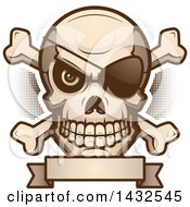 Clipart Of A Halftone Evil Pirate Skull And Crossbones Over A Blank Banner Royalty Free Vector Illustration