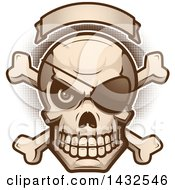 Clipart Of A Halftone Evil Pirate Skull And Crossbones Under A Blank Banner Royalty Free Vector Illustration