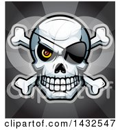Clipart Of A Halftone Pirate Skull And Crossbones Over Rays Royalty Free Vector Illustration by Cory Thoman