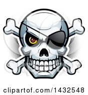 Clipart Of A Halftone Pirate Skull And Crossbones Royalty Free Vector Illustration by Cory Thoman