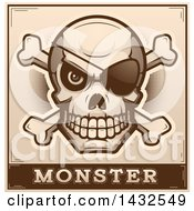 Poster, Art Print Of Halftone Pirate Skull And Crossbones Over Monster Text