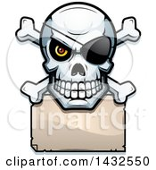 Clipart Of A Halftone Pirate Skull And Crossbones Over A Blank Paper Sign Royalty Free Vector Illustration by Cory Thoman
